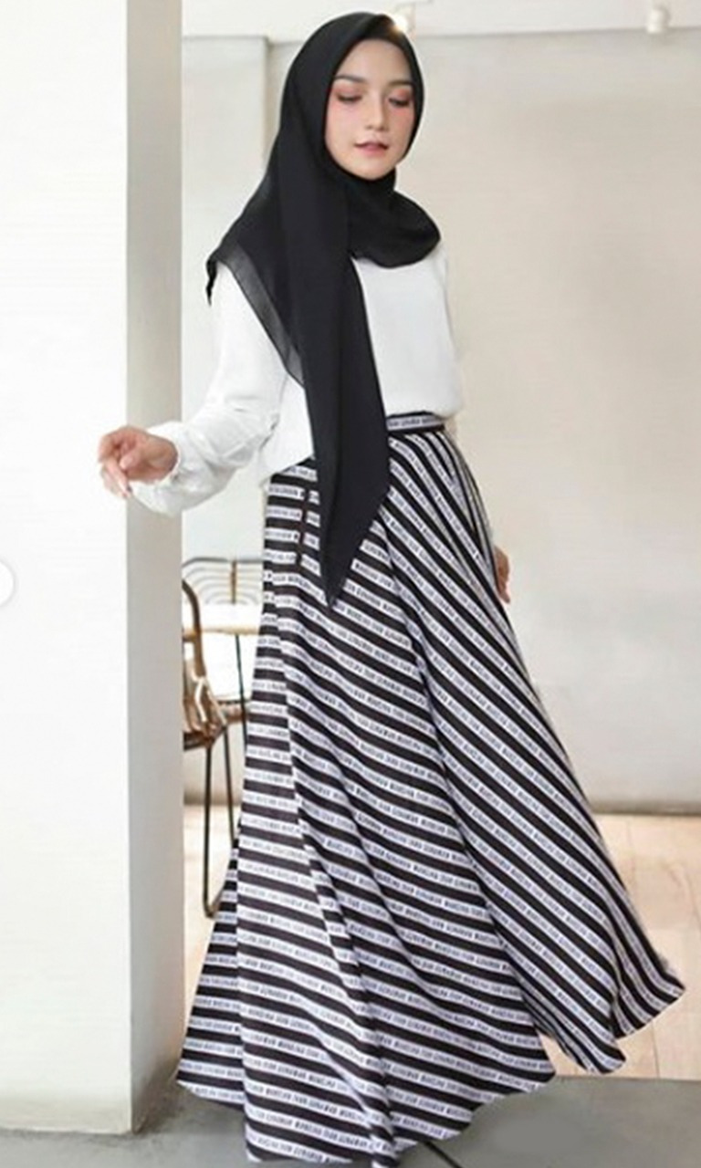 Striped Monogram Skirt