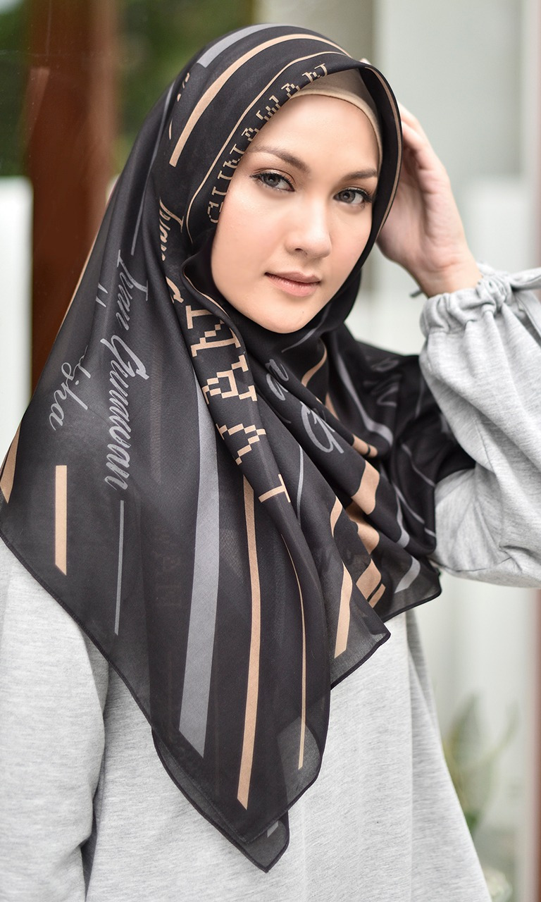 Stripe Monogram Black Scarf