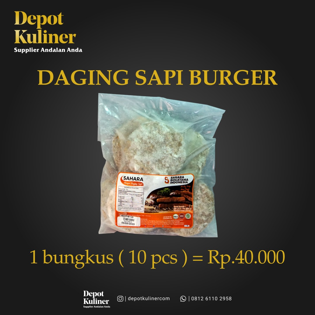 Supplier Daging Burger Sahara di Kota Medan