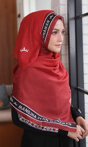 Monogram Red Scarf