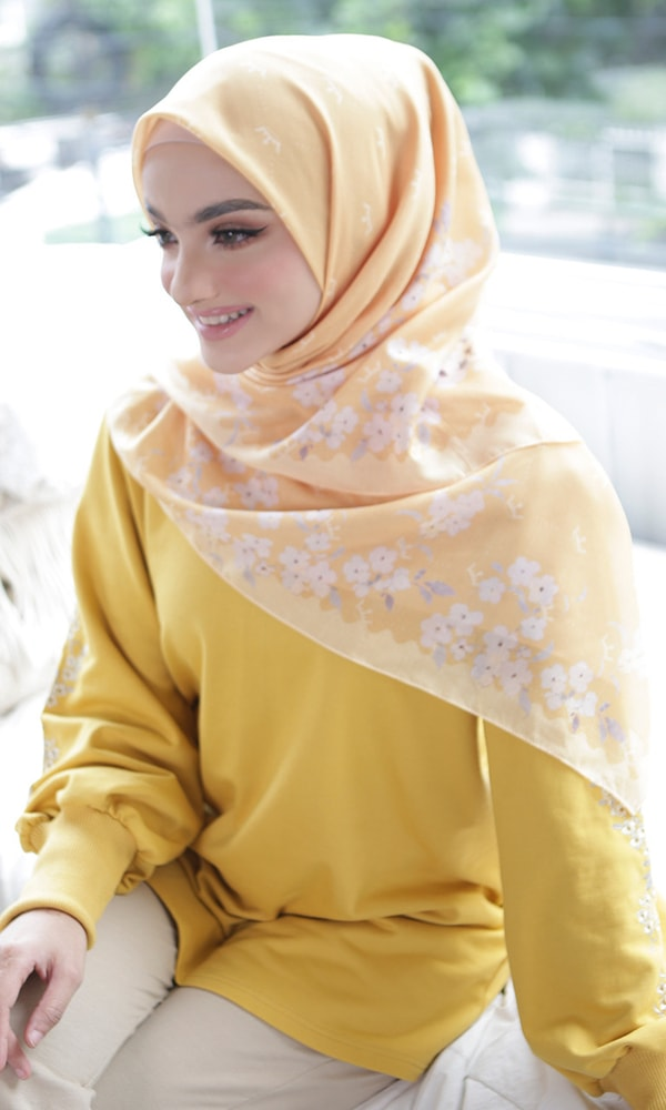 Summer Flower Yellow Scarf