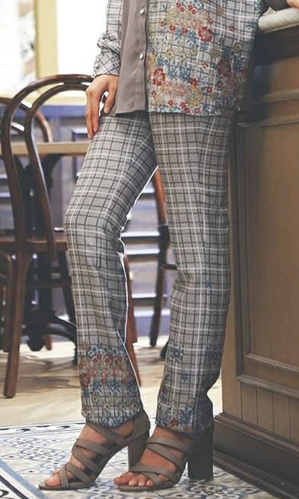 Plaid Flower Print Pants Grey Pants