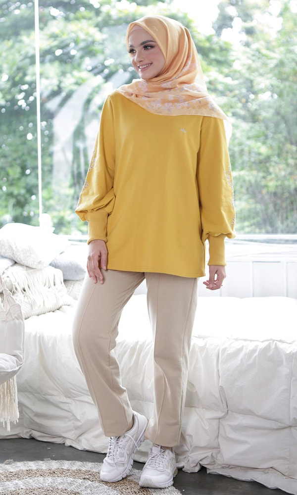Embroidery Sleeve Blouse Yellow