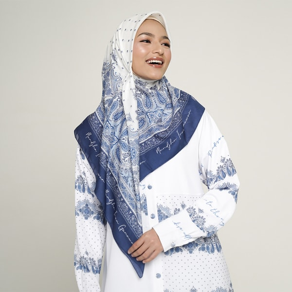 Royal Paisley Blue Scarf
