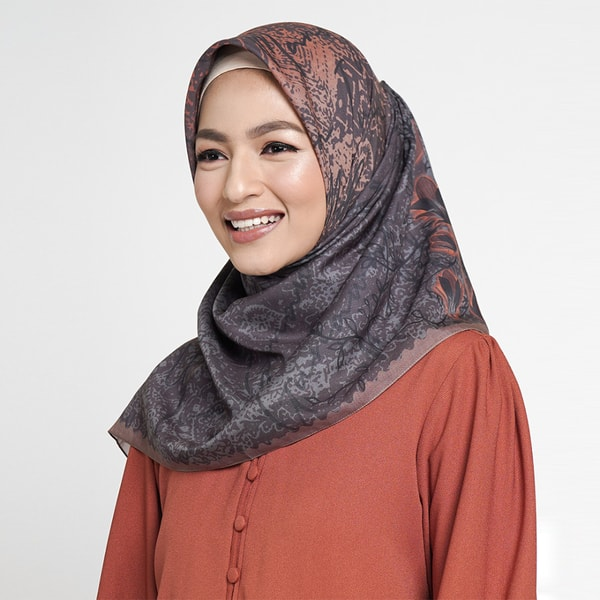 Lily Flower Brown Scarf