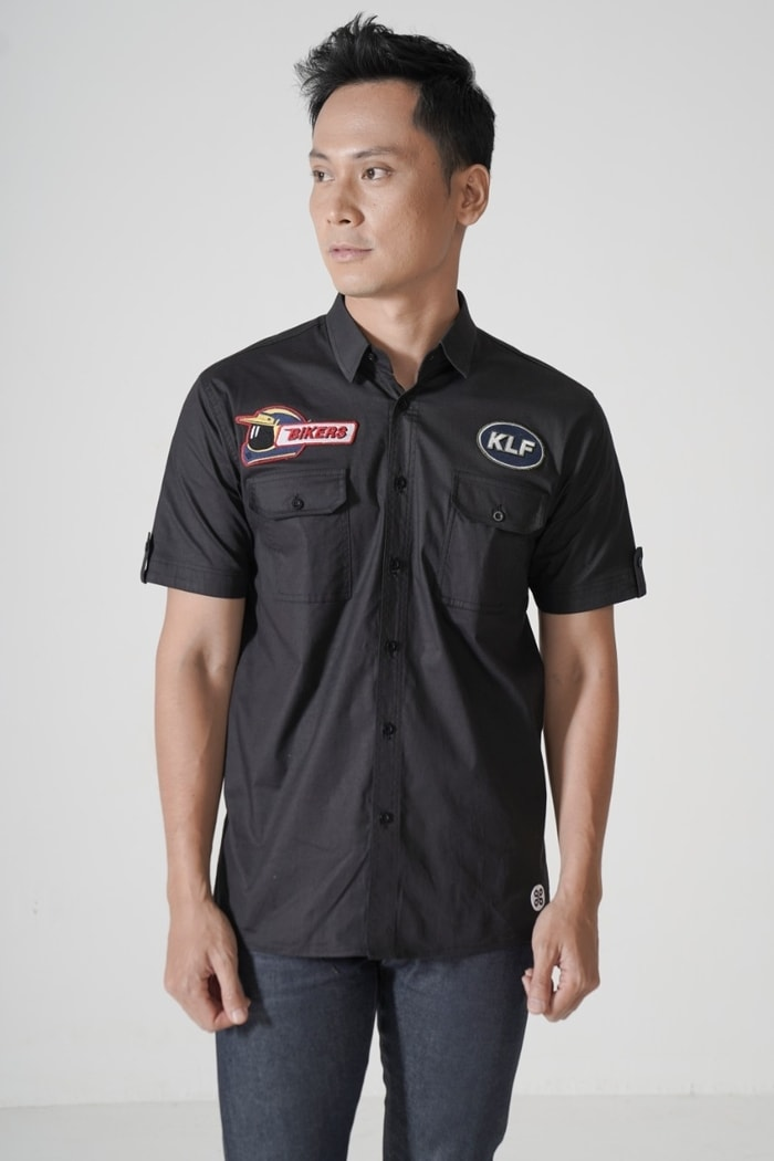 Black Utility Patch Shirt